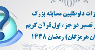 امتیازات داوطلبین  مسابقه بزرگ ترجمه و تفسیر دو جزء اول قرآن کریم  (استان هرمزگان) رمضان 1438